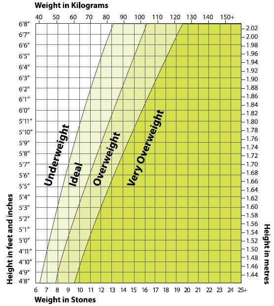 healthy weight range chart